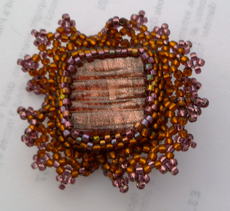 copper tile brooch